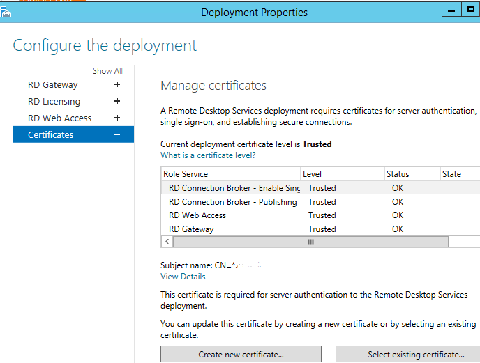 Server 2012 rds certificate solution the windows admin rds deployment properties yadclub Image collections
